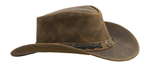 Walker and Hawkes Antique - Sombrero de Vaquero de Estilo clásico - Cuero Vacuno - Marrón Claro - M (58cm)