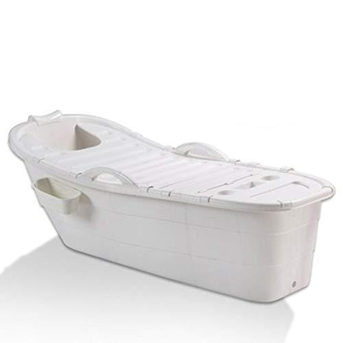JZM Multifunktional Badewanne,Erwachsene Badewanne Aus Kunststoff Badewanne Für Kinder Tragbare Badewanne Fass 140 * 51 * 48Cm,White