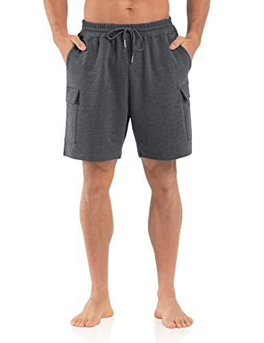 Agnes Urban Mens 6' Cargo Shorts Casual Lounge Elastic Waist Workout Athletic Gym Cotton Terry Sweat Shorts with Pockets Dark Grey