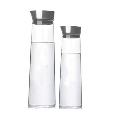 Cobeky Juego de 2 tarros de acero con tapa de cristal para zumos, botella de agua fría de borosilicato, resistente al calor, botella de agua fría