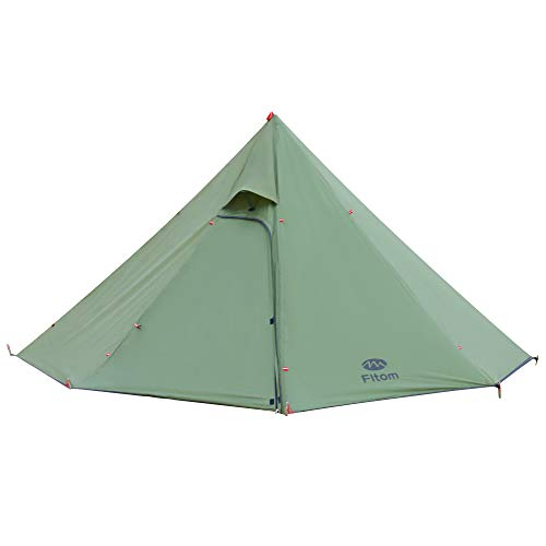 Fltom Camping Hot Tent, Ultralight Teepee Tent for 2-3 Person with Flue Pipe Window, Includes Stove...