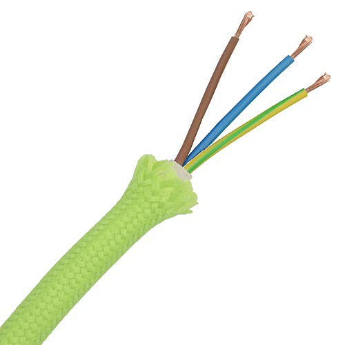 3m Textilkabel Neon Grün pistaziengrün 3-adrig 0,75mm² Stoffkabel für Pendel- und Hängeleuchten Stromkabel mit Stoff Lampenkabel