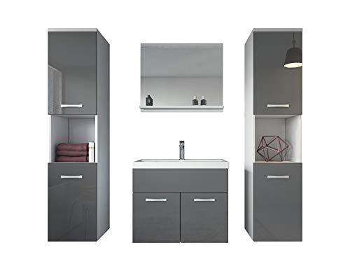Badezimmer Badmöbel Montreal XL 60 cm Waschbecken Grau Hochglanz Fronten - Unterschrank Hochschrank Waschtisch Möbel