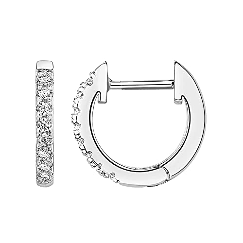 PAVOI 14K White Gold Plated Post Cubic Zirconia Cuff Earring Huggie Stud
