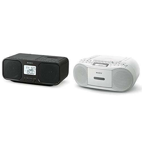 【セット買い】ソニー CDラジオカセットレコーダー CFD-S401 : FM/AM/ワイドFM対応 大型液晶/カラオケ機能搭載 電池駆動可能 ブラック CFD-S401 B & CDラジカセ レコーダー CFD-S70 : FM/AM/ワイドFM対応 録音可能 ホワイト CFD-S70 W