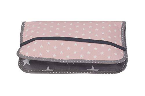 ULLENBOOM ® Windeltasche für unterwegs Rosa Grau (Made in EU) - Wickeltasche für bis zu 3 Windeln, Feuchttücher & weiteres Zubehör, Windeletui mit Reißverschluss & Gummiband, klein & lässig