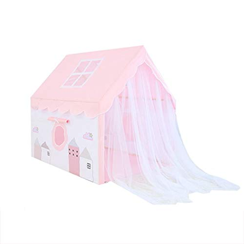 CSQ Girls' Princess Style Tent, Boys' Prince Style Tent Pink/blue Roof Tent/Cute Printing Pattern/Mesh Door Curtain Design Children's play house (Color : Blue, Size : 100 * 128 * 120CM)