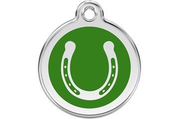 Red Dingo Custom Engraved Dog ID Tag - Lucky Horseshoe Medium/Green