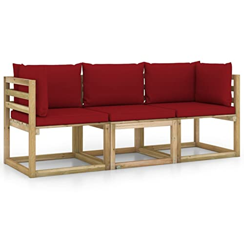 Gawany Sofá de jardín de 3 plazas con Cojines Sofa de Palets Interior/Exterior Sillon Palets/Sofa para Patio Rojo Vino Tinto