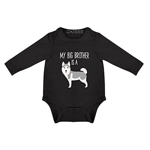 DKISEE Body de bebé siberiano Husky manga larga negro bebé mono 9-12 meses, o6n4p54gu6ok