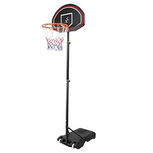 YOLEO Canasta de Baloncesto Exterior Niños, Móvil Ajustable de 160 a 210 cm, Sistema de Red Aro de Baloncesto con Ruedas, Negro