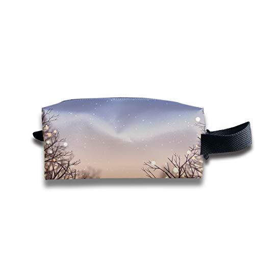 Custodia cosmetica per trucco da viaggio con illuminazione invernale e tramonto, custodia per spazzole portatile Borsa da toilette Borsa da viaggio per cosmetici