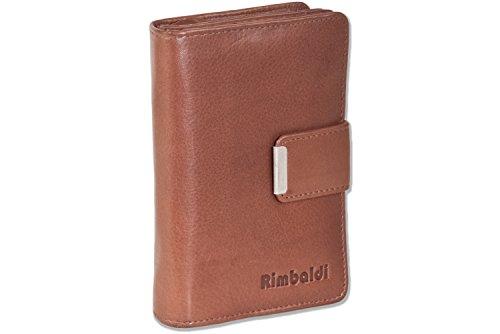 Rimbaldi® Kompakte Damengeldbörse mit dem Protecto® RFID/NFC-Blocker Schutz und naturbelassenem Rindsleder in Braun