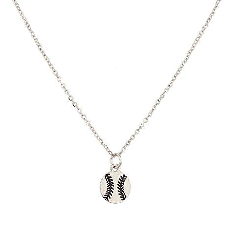 LUX Zubehör Silvertone Baseball Charm Halskette