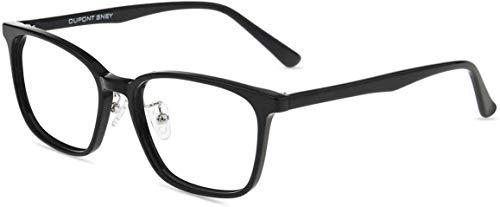 Firmoo Blaulichtfilter Brille Entspiegelt ohne Sehst'rke, Anti Blaulicht Computer Brille für Damen/Herren, Rechteckige Blendfreie Kratzfeste UV Blaufilter Schutzbrille für Bildschirme Schwarz