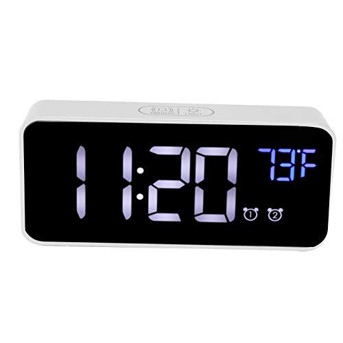 Liyeehao Reloj de Escritorio, Reloj Digital, Modo Nocturno y Espejo Carga USB Gran Pantalla Digital Oficina para Adultos para Estudiantes Hogar(Silver)