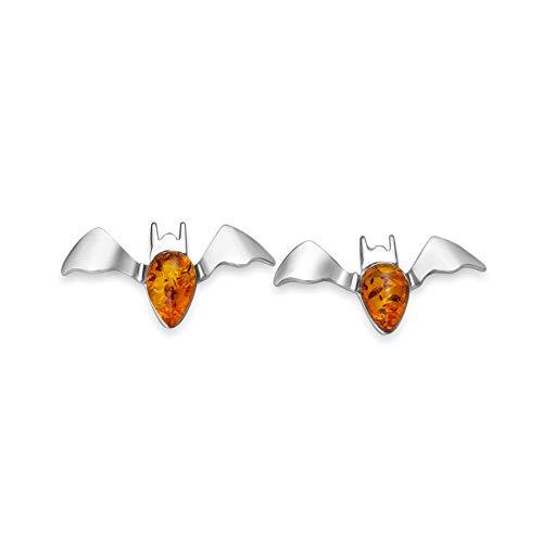 Fledermaus Baltischer Bernstein Ohrstecker Ohrringe 925 Sterling Silber #2198