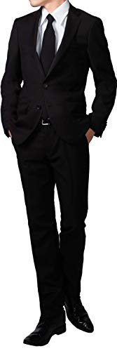 ws46f80139-990-BE4 フォーマルスーツ シングル 2つボタン オールシーズン アジャスター付 メンズ ブラックスーツ 礼服 喪服 冠婚葬祭 黒 (裾上げテープ, BE4)