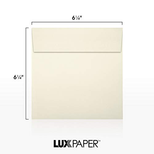 LUX Paper Square Invitation Envelopes for 6 1/4 x 6 1/4 Cards in 70 lb. Natural, Printable Envelopes for Invitations, with Peel & Press Seal, 50 Pack, Envelope Size 6 1/2 x 6 1/2 (Off-White) Photo #6