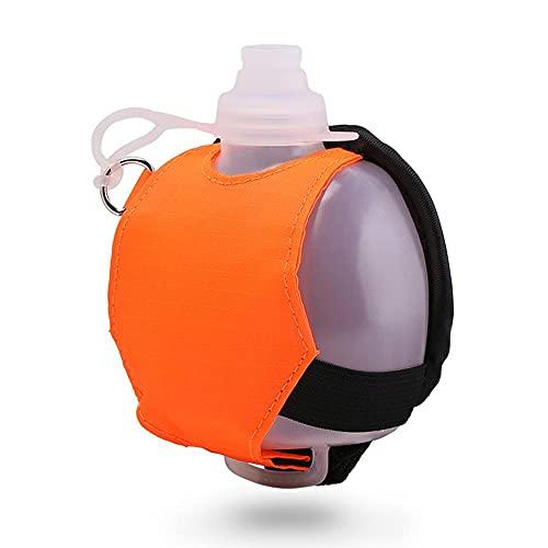 Botella de agua ajustable para correr,Botella de Agua de Muñeca, Botella para correr,apto para maratones, ciclismo, caminar, correr, deportes, ocio y todas las actividades al aire libre (naranja)