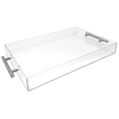 Isaac Jacobs Clear Acrylic Tray with Handle (11x14, Clear with Silver Handle)
