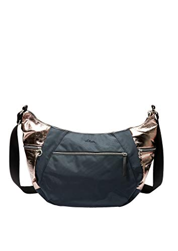 s.Oliver Damen Tasche im Metallic-Materialmix dark grey/roségold 1