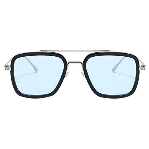 Hillrong Retro Occhiali da Sole Tony Stark uomo di Ferro Montatura - Moda Occhiali da Sole Donna Uomo Occhiali da Supereroe Guida Occhiali da Vista Regalo (E)