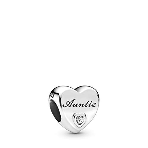 Pandora Jewelry Auntie Love Heart Cubic Zirconia Charm in Sterling Silver