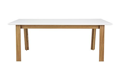 tenzo 5961–454 Profil Designer Table Salle à Manger rectangulaire, Blanc/Chêne, Plateau en Panneaux MDF ép. 25 mm laqués. Piètement Massif huilé, 75 x 180 x 95 (HxLxP)
