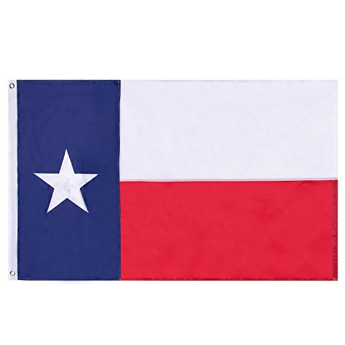 Lixure Texas Flag TX Flags Texas State Flag 3x5 FT 210D Waterproof Nylon-Embroidered Stars UV Protected and Sewn Using Quadruple Lock Stitching on Fly End Banner Flags with Brass Grommets