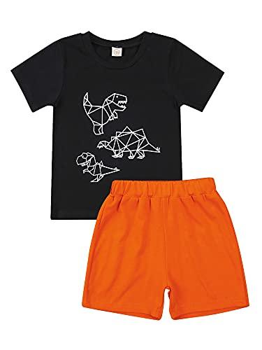 Hapi Juego de ropa para niño pequeño, 2 piezas, camiseta de manga corta con estampado de dinosaurios geométricos y pantalones cortos