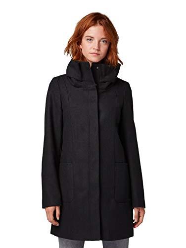 Tom Tailor Basic Woll Abrigo, Negro (Deep Black 14482), XXL
