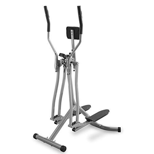 Physionics Cross Trainer - con Display LCD, Carico Massimo 120 kg, Sensore di Frequenza Cardiaca e Supporto Addominale, Acciaio - Air Walker, Stepper con Manubrio