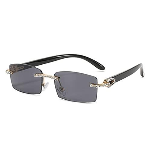 SXYB Gafas Sol Sombras Diamantes Lujo, Gafas Cristal Moda, Cuadrado sin Montura, Estilo Retro Vintage, Fiesta Punk para Mujer, para Mujer, Gafas de Sol polarizadas Diamantes de imitación