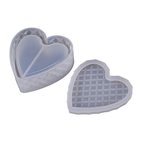 Shefii Heart-Shaped Cut Section Mold DIY Crystal Epoxy Storage Box Mould, Jewelry Gift Case Silicone Molds,