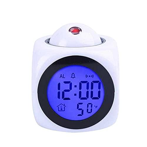 DWAC Proyección Creativa Reloj de Alarma de Clima Digital, LCD Snooze Clock Bell Alarma de Pantalla Retroiluminación LED Proyector Temporizador de Reloj USB WiederaufladBarer Digitaler Wecker