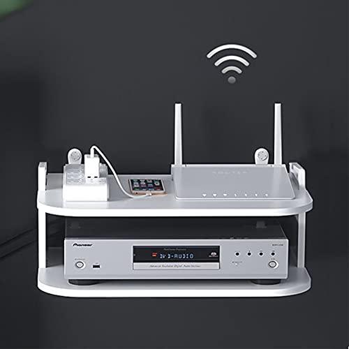Router Rack Estante del enrutador Caja de Almacenamiento inalámbrico WiFi Soporte de Pared de perforación Libre para Wi-Fi, Router y TV Jugador