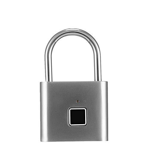 Candado Inteligente Bloqueo de huellas dactilares Smart Impermeable Huella digital Padlock Gym Equipaje Mochila Mochila Casillero Ideal Para Interior-exterior ( Color : Silver , Size : 40mmx45mm )