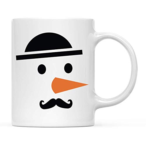 Regalo de taza de café de chocolate caliente navideño para niños, nariz de zanahoria con bigote de muñeco de nieve helado, 1 paquete, taza de campamento de metal esmaltado para él y ella, incluye caja