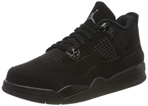 Nike Jordan 4 Retro (PS), Zapatillas de básquetbol, Black Black Lt Graphite, 28.5 EU