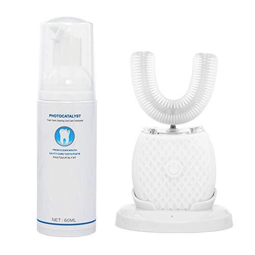 Ultraschall elektrische Zahnbürste,Elektrische Zahnbürste 360 ° Vollautomatisch Ultraschall Wasserdicht IPX7 AI Automatische -Speicherfunktion Blu-ray-Bleaching Kabelloses (White)