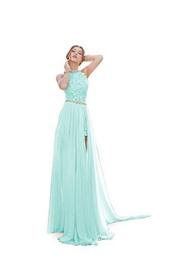 Damen Ballkleid Brautjungfernkleid Neckholder Rückenfrei Abendkleid Cocktailkleid mit Strass Schlitz Mintgrün 34