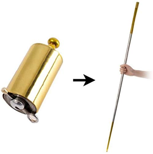 Pocket Magic Wand, Portable Magic Staff Telescopic Props Martial Arts Metal Staff for Magician/Martial Arts Stage Performances (150 cm/59 in, Golden)