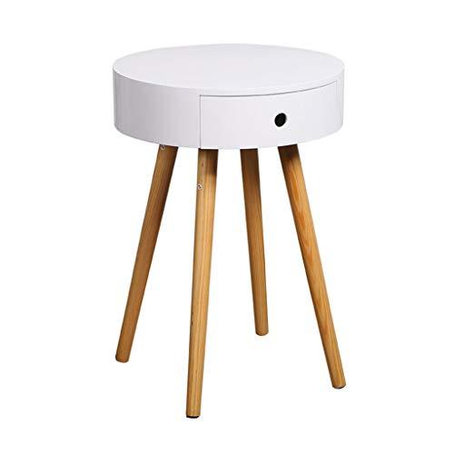 HSLXD.SMZZ Kreative Sofa Tisch Haushalt Multifunktions Runden Tisch Weiß Massivholz Beistelltisch Ecktisch Schlafzimmer Schrank Kopf Locker,Weiß