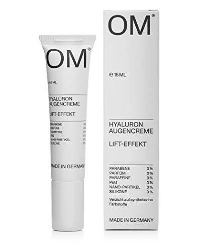 OM - Hyaluron Augencreme - 15 ml - gegen Falten und Augenringe mit Skin Lipid Matrix, Made in Germany, ohne Parabene, Parfüm, Paraffine, PEG & Silikone