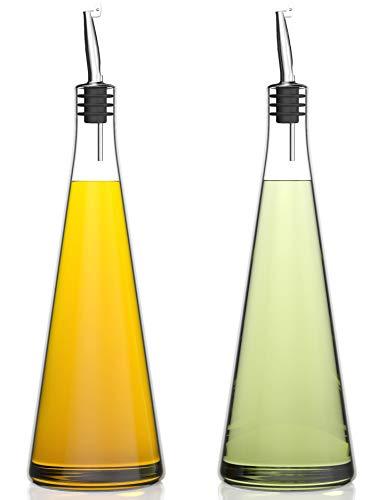 Venero Olive Oil & Vinegar Dispensers, Set of 2 Glass Bottles, 19 oz Olive Oil Dispenser Bottle Set...