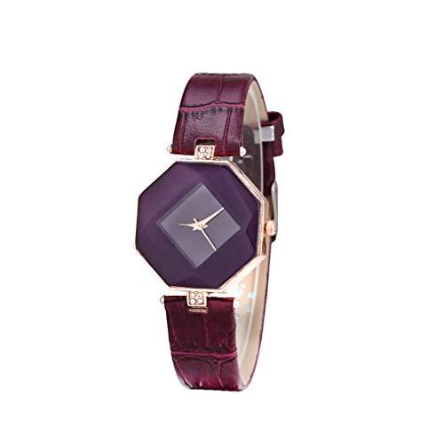 Hemobllo - Reloj de Pulsera para Mujer, Correa de Cuero PU, Diamante, Espejo, Relojes de Gama Alta, Reloj de Pulsera de Moda, Reloj de Pulsera Elegante para Mujer y niña