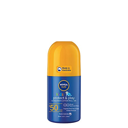 NIVEA SUN Kids Moisturising 4 Hour Water Resistant & Fragrance–Free Roll On Sunscreen Lotion. Made in Australia, SPF50+ 65ml (86027)
