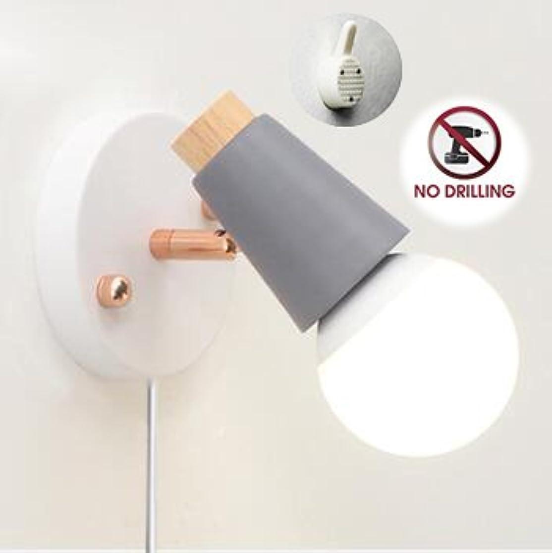 深く資金夢STGLED ブラケットライト コンセント式 ON/OFFスイッチ付き 壁取付ランプ 壁掛けフックにて固定 穴あけ不要 アンティーク調 レトロ おしゃれ ウォールライト インテリア照明 LED対応 グレー