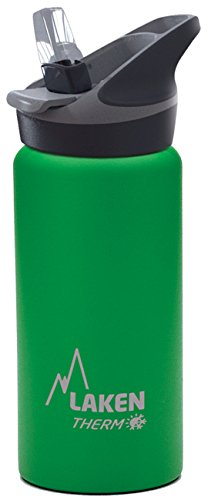 Laken Thermo Kids Vacuum Insulated Stainless Steel Leak Free Sports Water Bottle with Jannu Straw Cap, 17 oz, Green